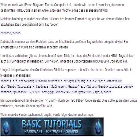 Photo of Anzeigen von Code in Wordpress