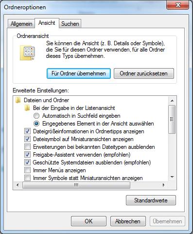 Erweiterung bei bekannten Dateitypen ausblenden