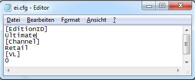 Windows 7 Versionsdatei ändern