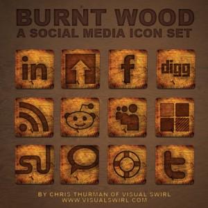 Burnt Wood - A Social Media Icon Set
