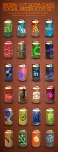 FREE ICONS - WORN-OUT SODA CANS SOCIAL MEDIA ICON PACK