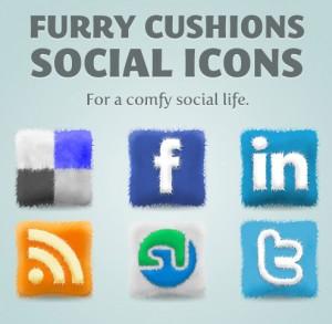 Free Furry Cushions Social Icons Set