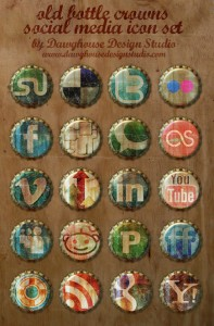 Free Social Media Icons - Old Bottle Crowns Icon Set