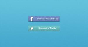 Twitter & Facebook Connect Buttons (PSD)