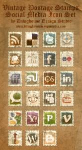 Vintage Stamp Social Media Icon Pack
