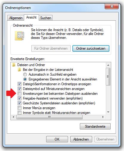 Dateiendung einblenden