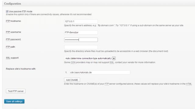 W3 Total Cache CDN Configuration