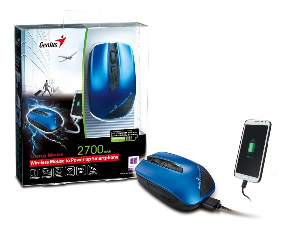 genius energy mouse kommt mit eingebautem akku. Black Bedroom Furniture Sets. Home Design Ideas