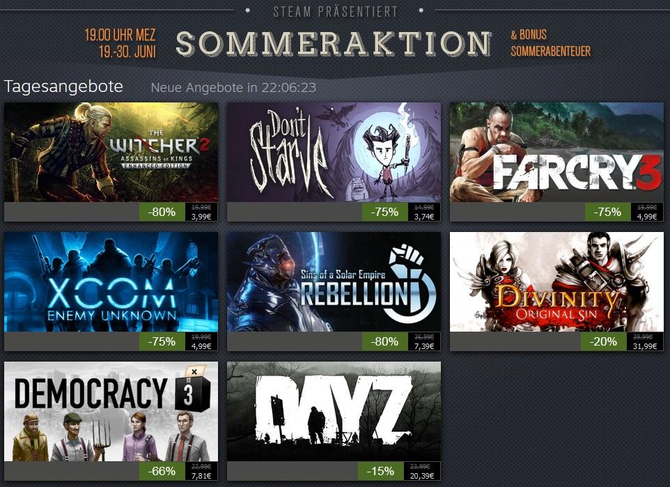 Bild von Steam Sommer Sale (Sommeraktion) gestartet