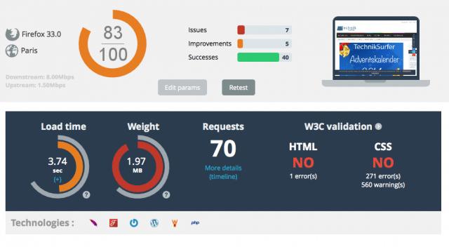 Messwerte mit WP-Rocket