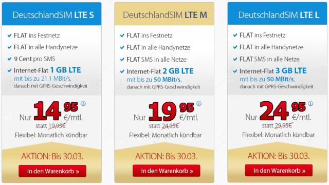 DeutschlandSIM LTE-Tarife 2