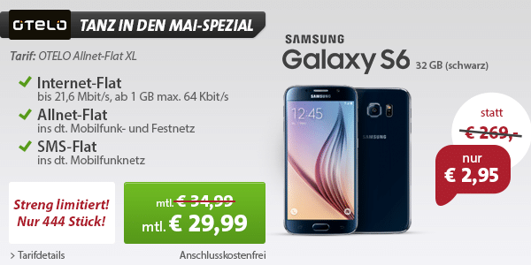 Photo of Neuer Mega-Deal: Samsung Galaxy S6 für nur 2,95 Euro & Hot Deal Update