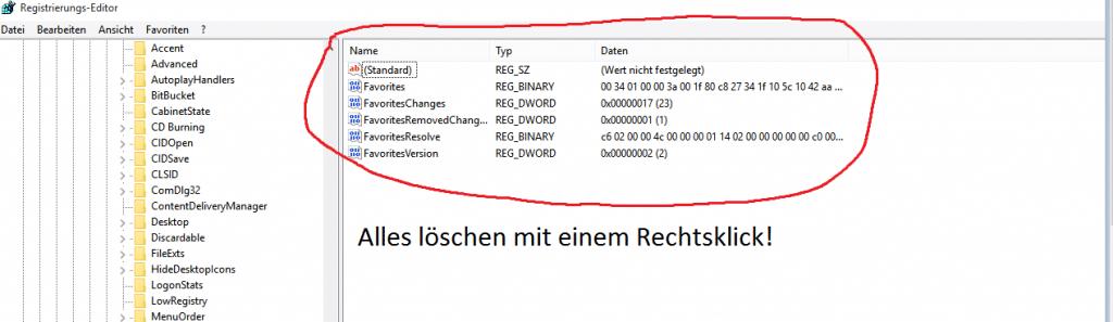 In der Taskleiste durch die Registry Icons löschen