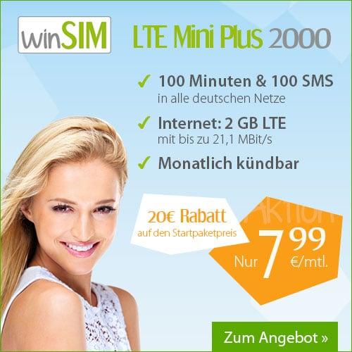 Bild von winSIM LTE Mini Tarife – jetzt mit 20 Euro Rabatt auf das Startpaket!