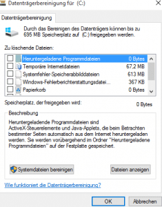 Datenträgerbereinigung - Systemdateien