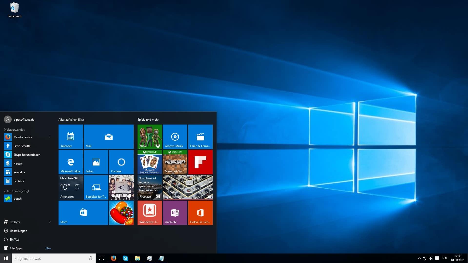 Bild von Windows 10: So leitet Ihr Websuchen aus dem Startmenü zu Google um