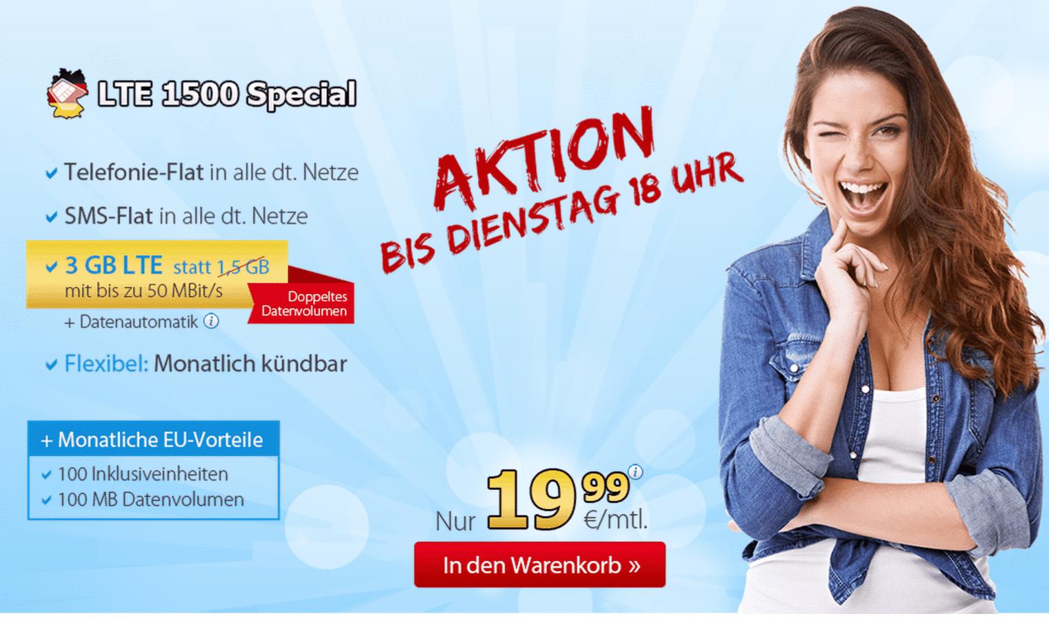 Photo of Extrem günstiger Allnet-Flat Tarif mit 3 GB LTE für nur 19,99 €