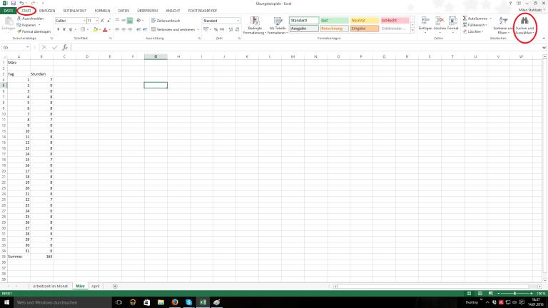 Excel Blatt mit Zahlenkollone