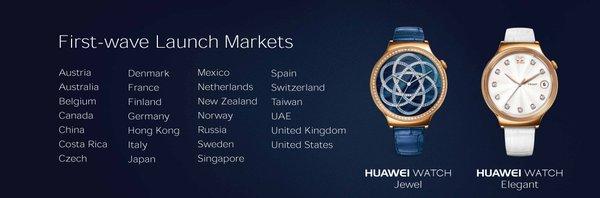 Huawei Watch Jewel & Elegant Verfügbare Länder