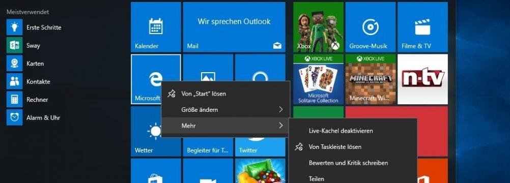 Windows 10 Menüverzögerung Menü