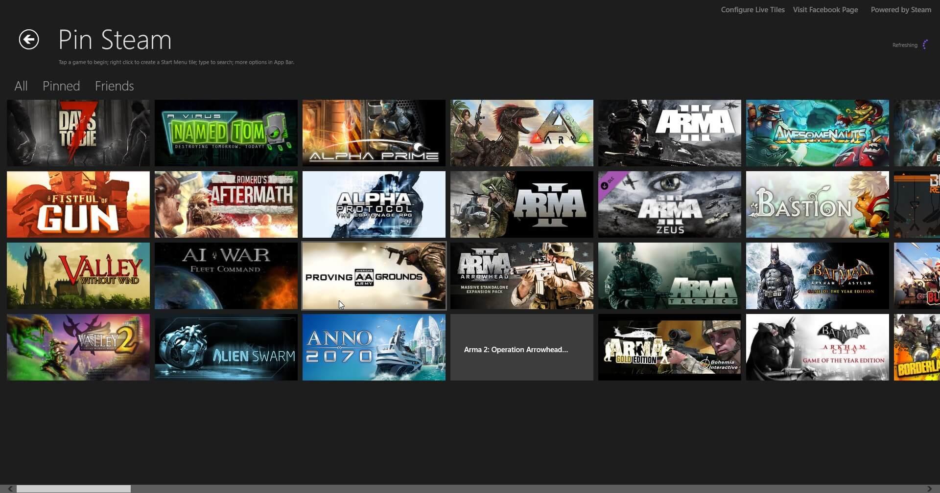 Bild von Pin Steam: Steam-Icons als Startmenü Kacheln