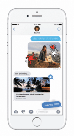 Die neue Messaging App in iphoneOS 10, auf dem Iphone 7.