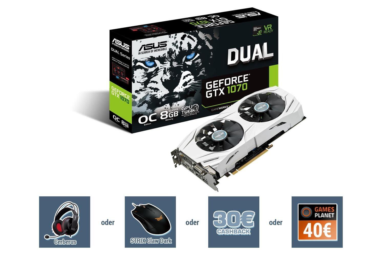 Bild von Asus GeForce GTX 1070 Dual OC 8 GB für nur 399 Euro – 30 Euro Cashback