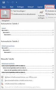 Word 2016 Inhaltsverzeichnis