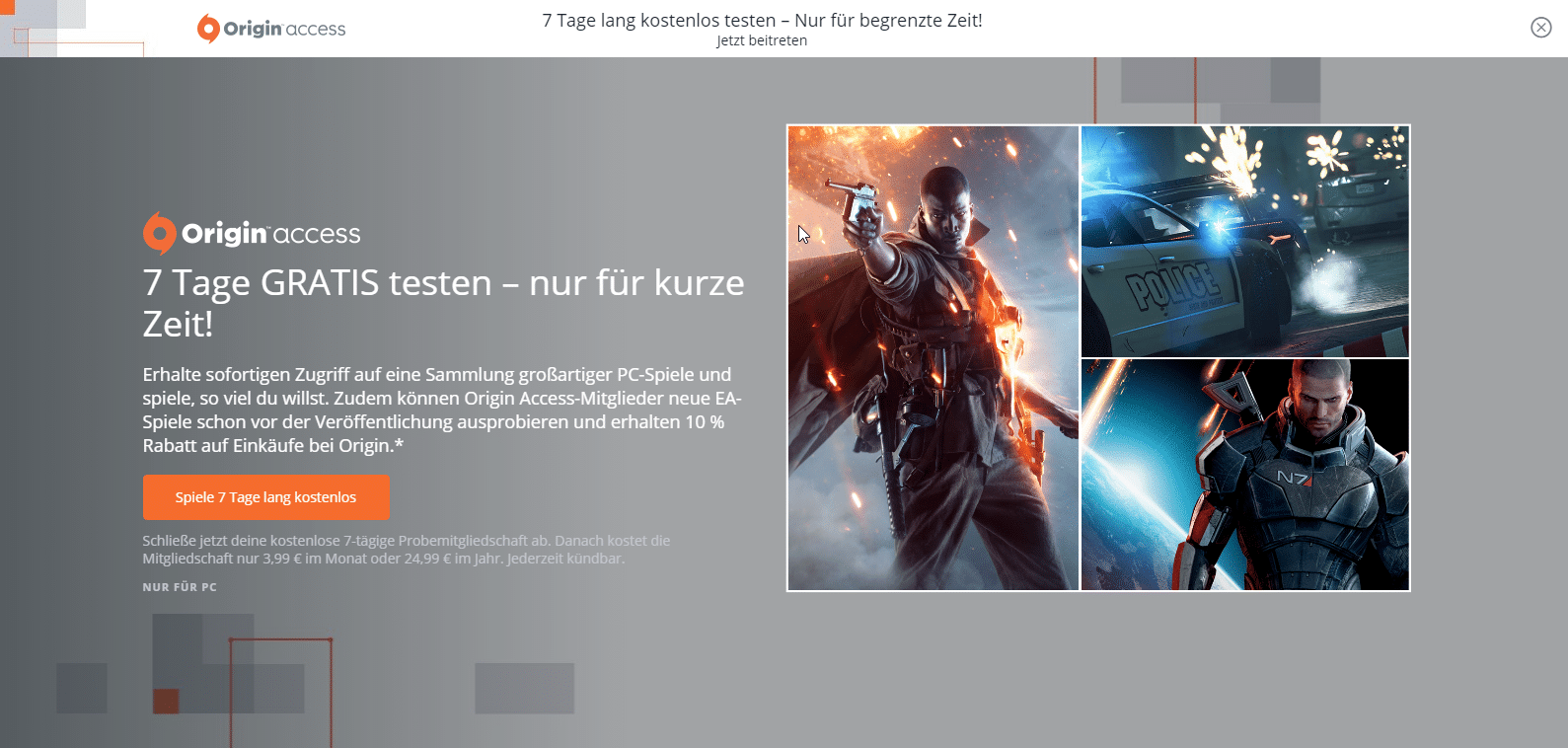 Photo of Origin Access 7 Tage kostenlos testen!