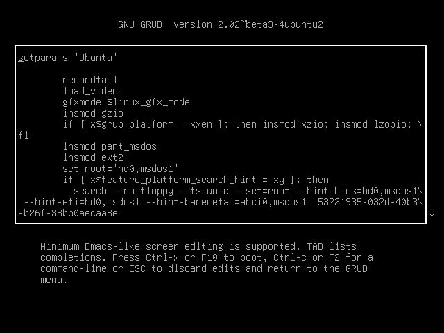 ubuntu textbox 640x480 - Vergessenes Linux-Passwort mit GRUB zurücksetzen