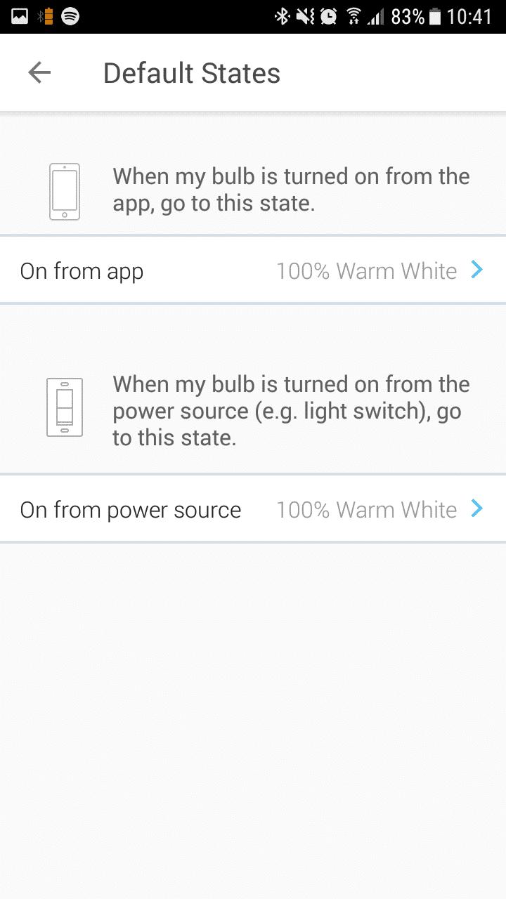 Default-Status beim Einschalten über Schalter und App