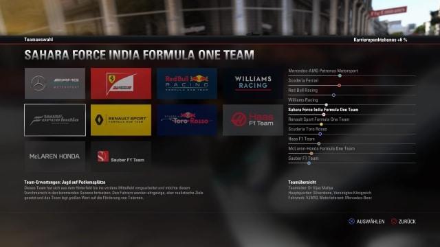 F1 2017 Teamwahl