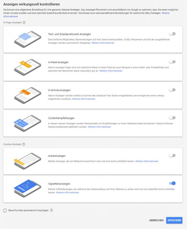 Verfügbare Anzeigenformate von Google AdSense Auto Ads