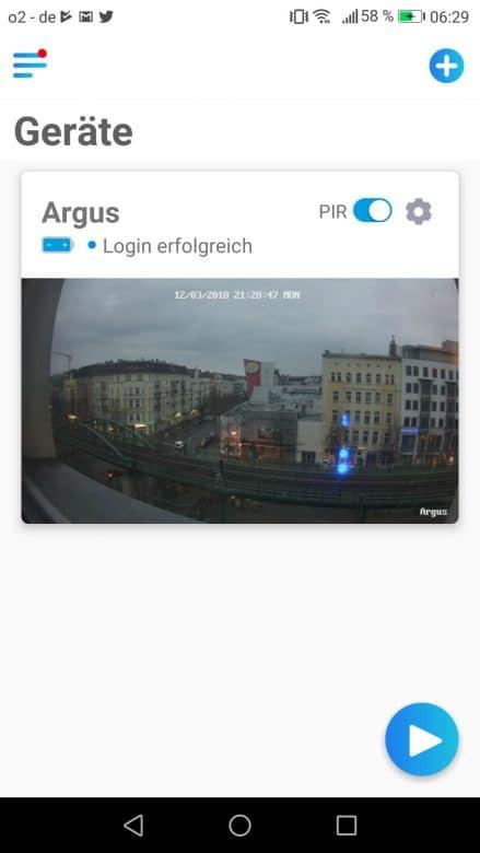 Geräteübersicht in der App
