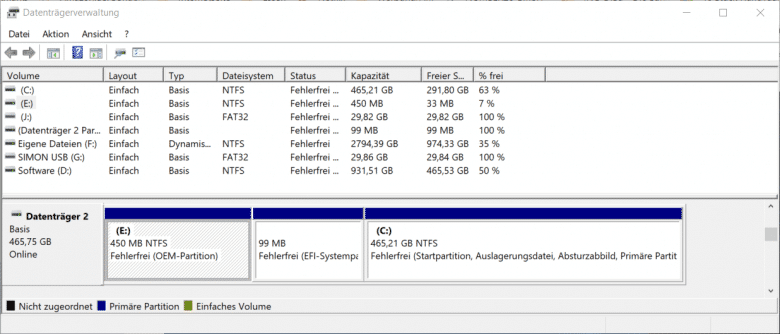OEM-Partition in der Windows 10 Datenträgerverwaltung