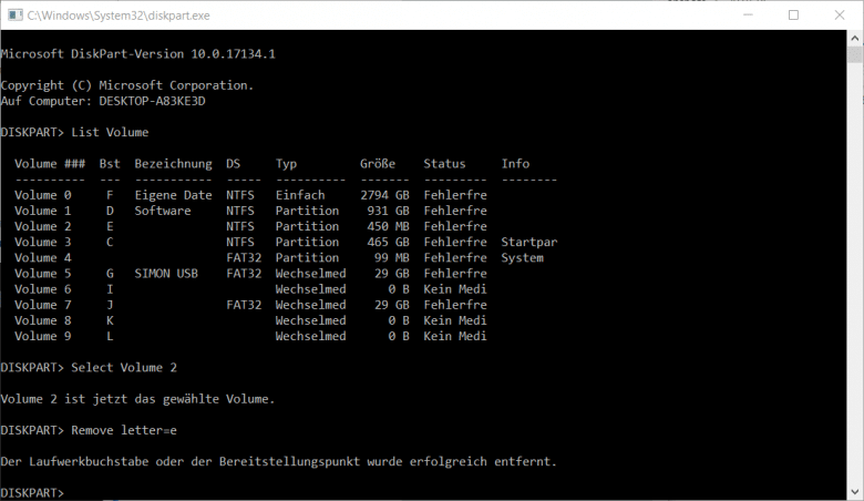 Die Befehle zum Entfernen eines Laufwerksbuchstabens in DiskPart