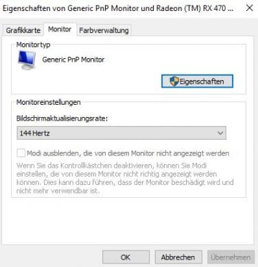 Bildwiederholfrequenz in Windows