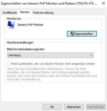 Bildwiederholfrequenz in Windows