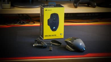 Photo of The Corsair Dark Core RGB Pro FPS gaming mouse with SLIPSTREAM WIRELESS technology under test