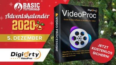 """Bild von Adventskalender-Türchen: Videobearbeitungsprogramm """"VideoProc"""" von Digiarty"""