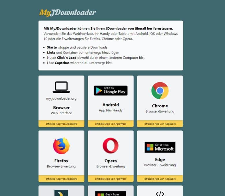 Setup of JDownloader